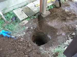 浸透桝設置穴掘り